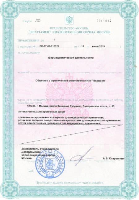 """Аптека """"Руфарма"""", """"WER"""" (ТМ): лицензия"""